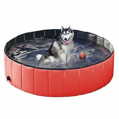 160cm Tragbar Faltbar Hundepool Doggy Pool Haustiere Planschbecken Dog-Swimming
