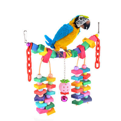 Colorful Knots Block Pet Parrot Bird Swing Bridge Toy Chewing Hanging Toys PS259