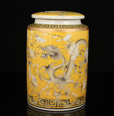 China Hand-painted Dragon Pattern Jingdezhen Porcelain Tea Canister