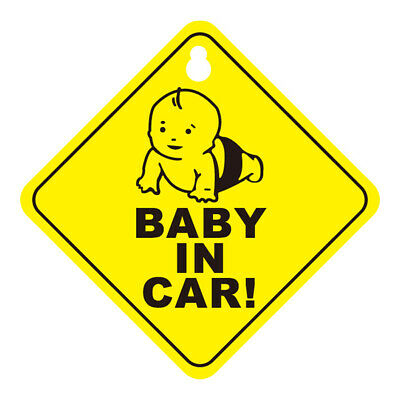 Plastic Baby on Board & Baby in Car Sign Car Warning Safety Yellow Suction Cup