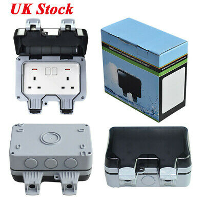 Waterproof Outdoor 13A 2Gang Storm Switched Socket Double IP66 For Outside UK