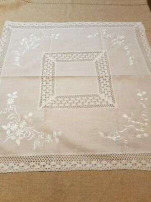 Square 85*85cm Linen/Look Premium Embroidered/Crochet Lace T/Cloth