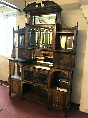 Stunning Quality Antique Rosewood Inlaid Mirrored Side Cabinet/Chiffonier