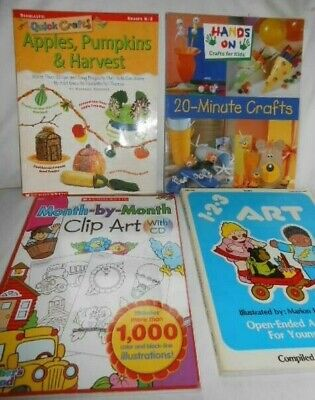 Lot of 4 CRAFT and FUN Projects Clip Art BOOKS for HOME SCHOOL TEACHERS - VGUC