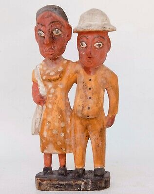 "Vintage Hand Carved / Hand Painted Wood Latin America Couple Figurines 12"" T"