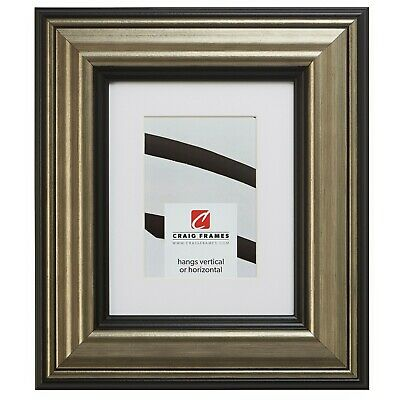 21307202 18x36 Aged Silver & Black Picture Frame Matted to Display a 14x32 Photo