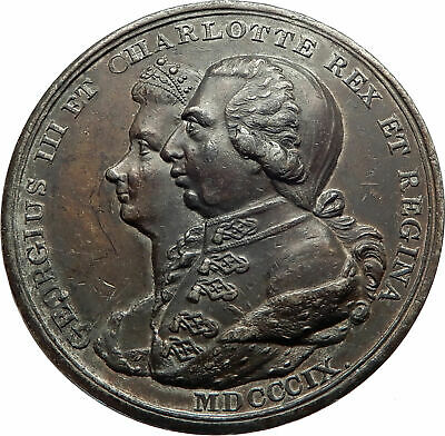 1809 GREAT BRITAIN Grand Jubilee GEORGE III & Queen Charlotte OLD Medal i75323