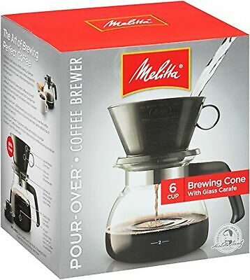 Melitta (640446) 6-Cup Pour-Over Coffee Brewer w/ Glass Carafe Pack of 1