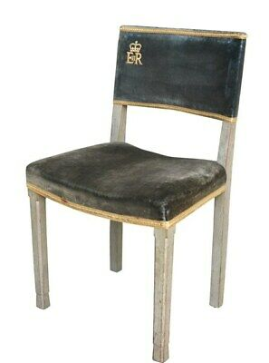 Original Antique ER II Limed Oak Coronation Chair 1953 - Genuine Rare Velvet