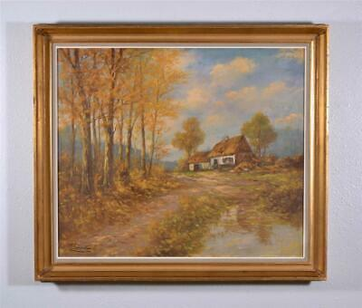 Signed Oil on panel Painting of a Farm house in the Fall by Schouten