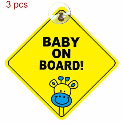 BABY ON BOARD WARNING SAFETY SIGN STICKER for car vehicle window suction cup 3pc