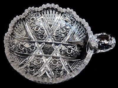 American Brilliant Cut Crystal Nut Candy Dish Nappy with Handle Round 6 Inches