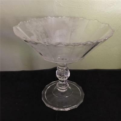 """Antique Large Footed Compote - Etched Deer And Trees - 9"""""""