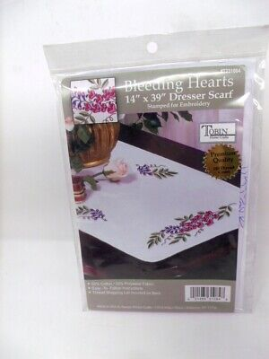 """Tobin Stamped Embroidery BLEEDING HEARTS 14"""" x 39"""" Table Runner Dresser Scarf"""