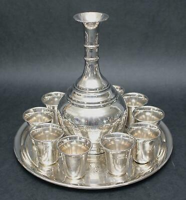 12pc Antique Russian 84 Sterling Silver Judaica Liquor Set Decanter Cups & Tray