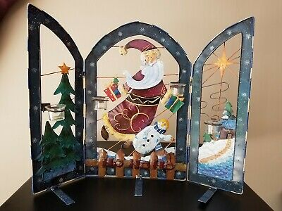 """Christmas Metal Santa Claus Fireplace Screen Cover W/Candle Holders 32"""" Holiday"""