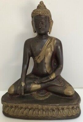 Antique Bronze/Brass Metal Meditating Buddha Statue In Lotus Position on Stand