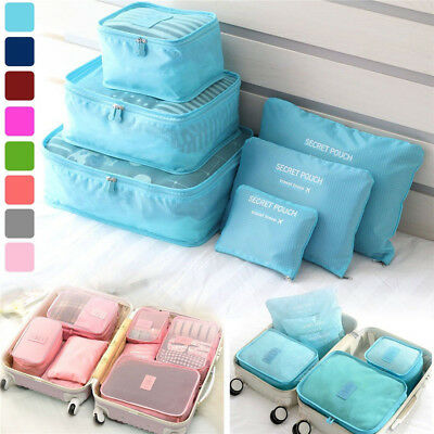 6× Waterproof Travel Clothes Storage Bags Luggage Organizer Pouch Packing Cube