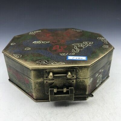 Chinese antique bronze makeup box with dragon pattern + small lock.   c240