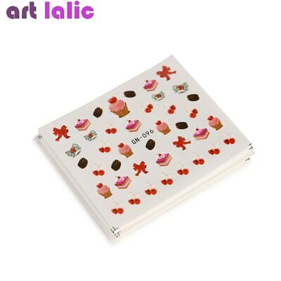 18 Sheets Water Transfer Nail Art Sticker Decals Candy Cake Tips Tattoo Decor