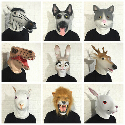 Latex Animals Head Goat Rabbit Dog Bear Carnival Props Stag Rubber Party Mask