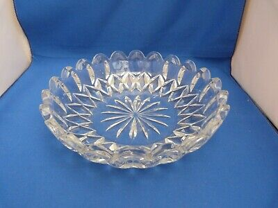 Collectable Shallow Heavy Thick Clear Transparent Glass Fruit Bowl H5.5cm W23cm