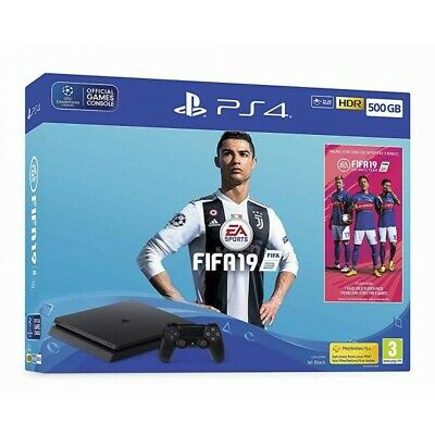 Sony Ps4 Console 500Gb F Chassis Slim Black + Fifa 19 Uk