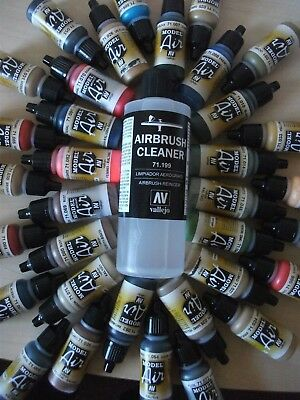 PICK ANY 4 X VALLEJO MODEL AIR ACRYLIC PAINTS INCLUDES 200ml CLEANER & THINNER