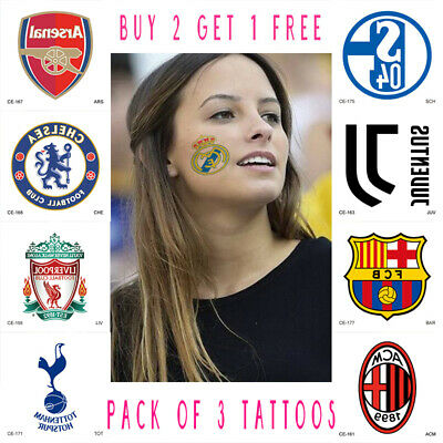 Temporary Tattoo Sticker,Champions League,Football Club Badge,Pack Of 3 Stickers