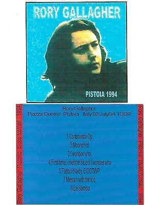 RORY GALLAGHER Pistoia Blues Festival 1994 CD Recorded Live 02-07-94 LIKE NEW