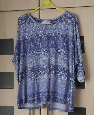 99a810b9e6a MARKS AND SPENCER Indigo Sheer Floral Tunic Top/Beach Cover Up Size ...