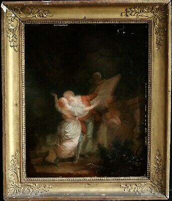 19th CENTURY FRENCH OIL ON PANEL - ELEGANT LOVERS IN FOREST WITH PUTTI STATUE