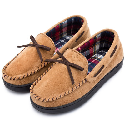 143e45fa420a4 RockDove Women's Flannel Lined Moccasin Slipper with Memory Foam, Size 7  US, Tan