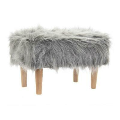 Furry Grey Rectangle Stool Fluffy Bedroom Vanity Lounge Foot Rest Home Decor