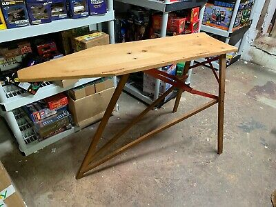 Antique/Vintage Ironing Board Wood And Metal Legs Large Size Great Shape 4 Feet