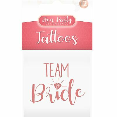 12 x Hen Party Night Team Bride Temporary Rose Gold Tattoos Bride To Be Squad