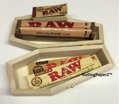 Coffin Smokers Box + RAW King Size Slim Classic & Organic Papers + Roller + Tips