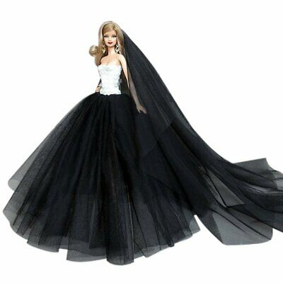 """Doll Clothes Gown Wedding Dresses Veil for 11.5"""" Girl Doll Black Marry Party"""