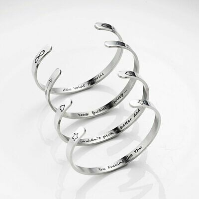Charm Stainless Steel Inspirational Gifts Wristband Bracelet Bangle Engraved