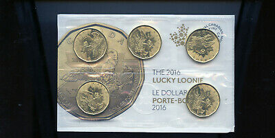 BU Canada 2016 Olympics lucky loonie dollar mint sealed 5-coin pack  BL43c
