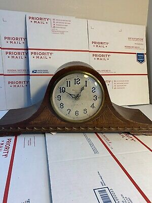 Antique New Haven 8 Day Mantel Clock 1/4 Hour Westminster Chime NOT RUNNING