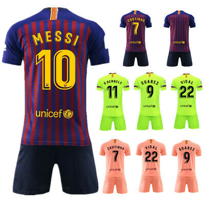 Barcelona Home Away Messi #10 Maglie da calcio Bambini Kids Jersey Uniforme