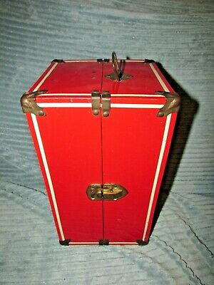 Vintage Red Metal Doll Trunk Silver Stars Inside. Fit Doll Up To 11 1/2""