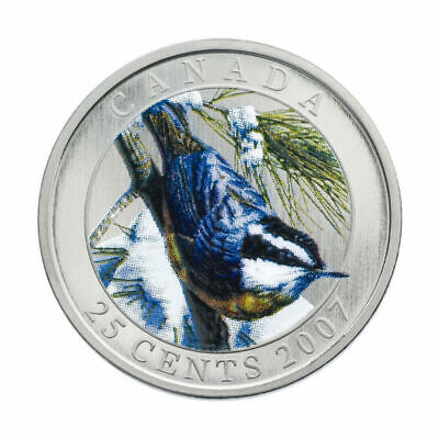 Red-Breasted Nuthatch - 2007 Canada 25 cent Coloured Coin