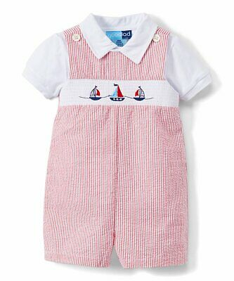 Boys GOOD LAD seersucker sailboat romper outfit 3-6 months NWT nautical smocked