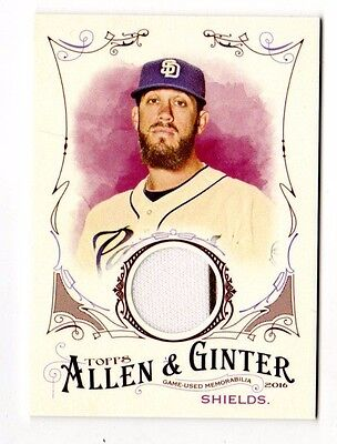James Shields Mlb 2016 Topps Allen And Ginter Relics (Padres,White Sox,Royals)