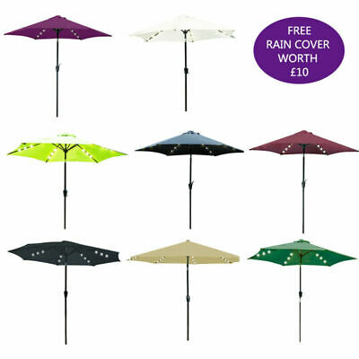 2.7M Garden Parasol Solar Folding Umbrella Sun Tent Rain Shelter with Cover+LED