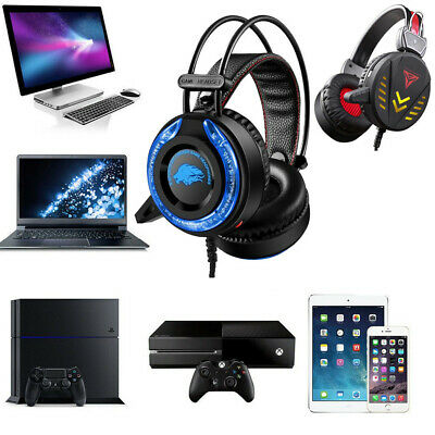 Gaming Headphones 3.5mm USB Wired LED Light Stereo Game Headphone Mic For PC