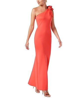 4a1dac6a0f3a Betsy & Adam NEW Pink Women's Size 10 Ruffled One-Shoulder Scuba Gown $249-