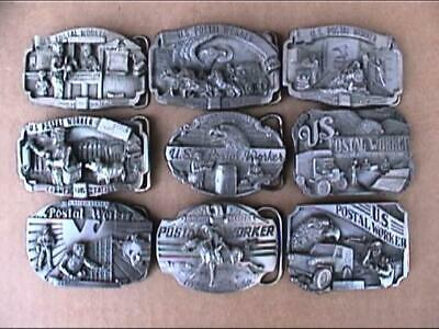 Vintage 1985-1993 US Postal Worker USPS Mail Pewter Belt Buckle 10 Piece Opp lot